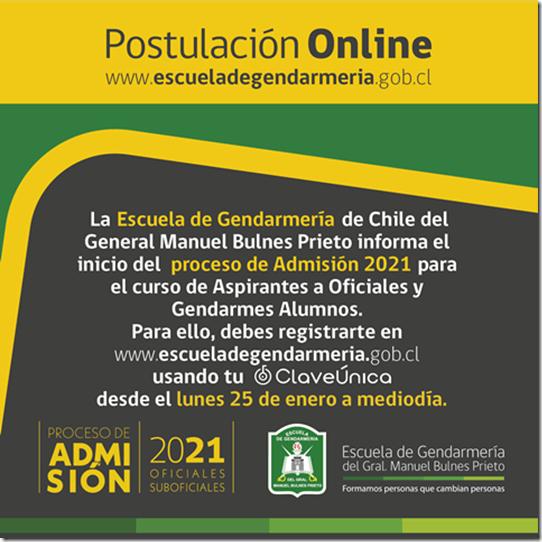 Imagen de apoyo Admisión 2021 Gendarmería de Chile
