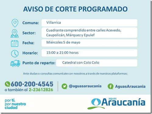 Aviso corte programado sector de Villarrica (05042021)