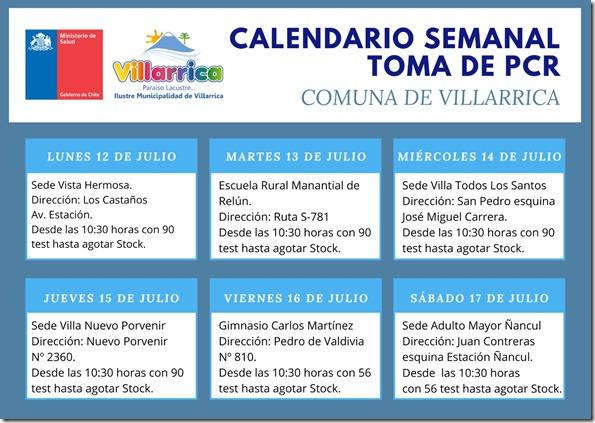Calendario semanal Toma PCR comuna de Villarrica